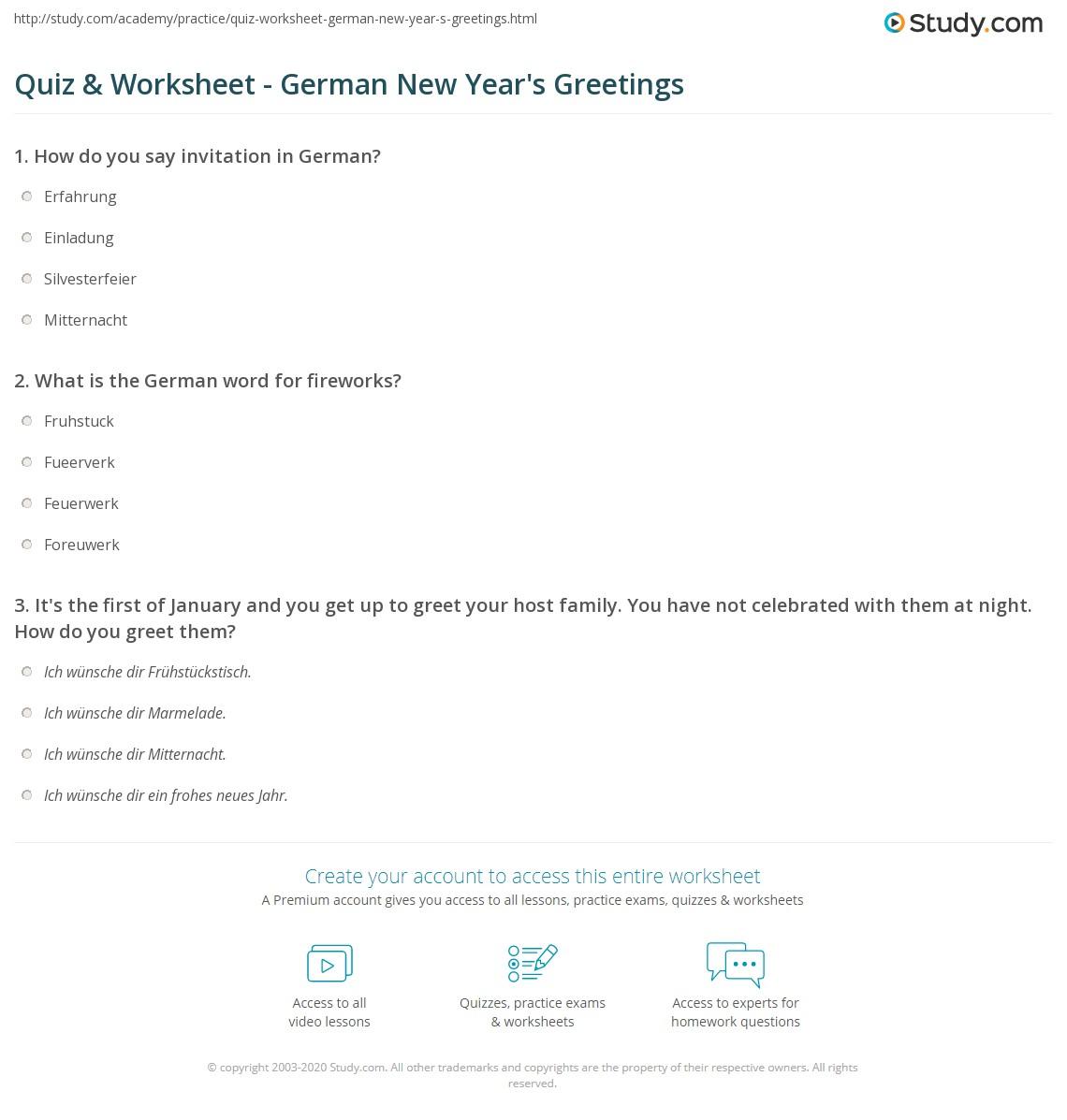 Quiz Worksheet German New Years Greetings Study