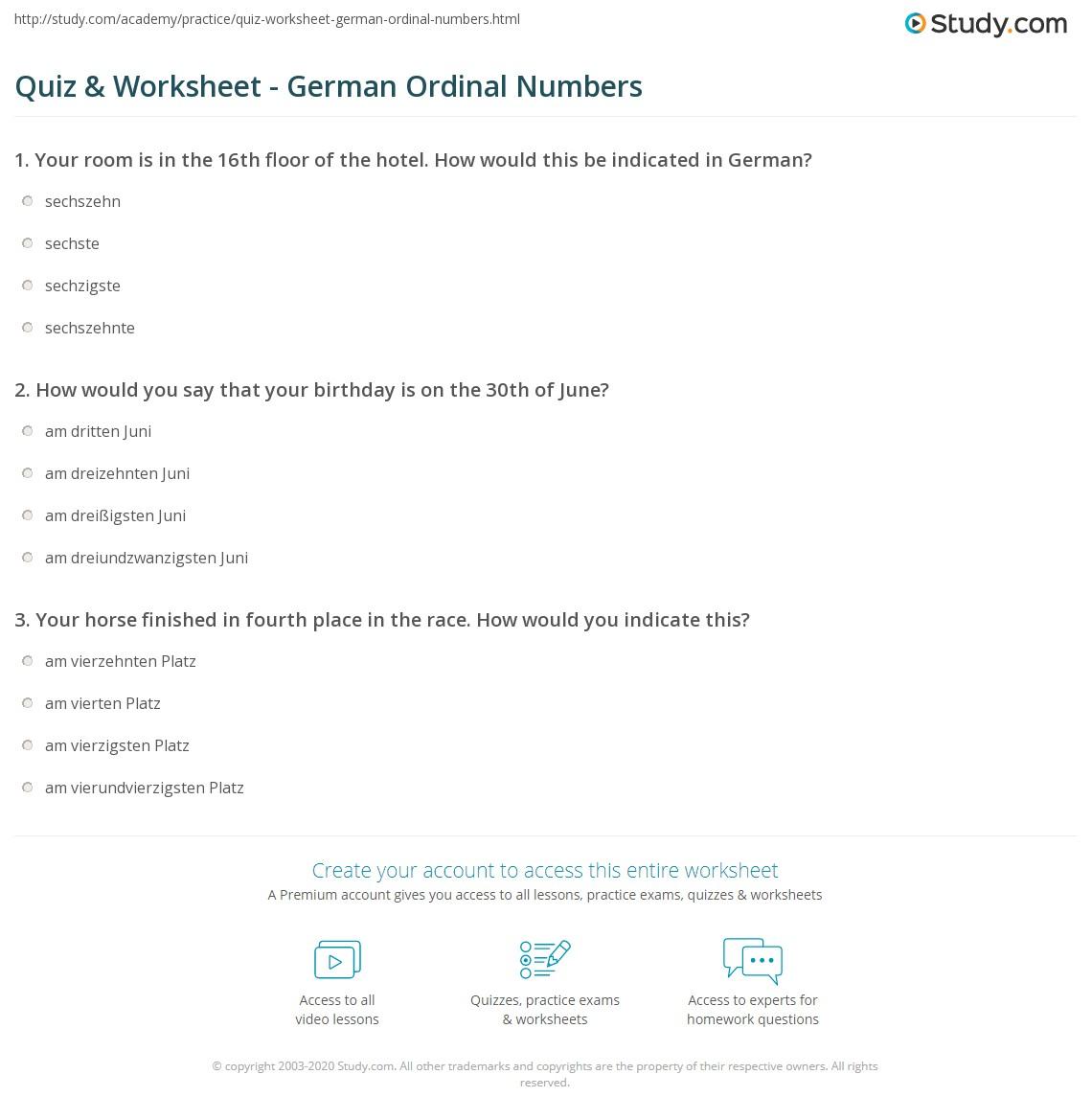 Quiz Worksheet German Ordinal Numbers Study