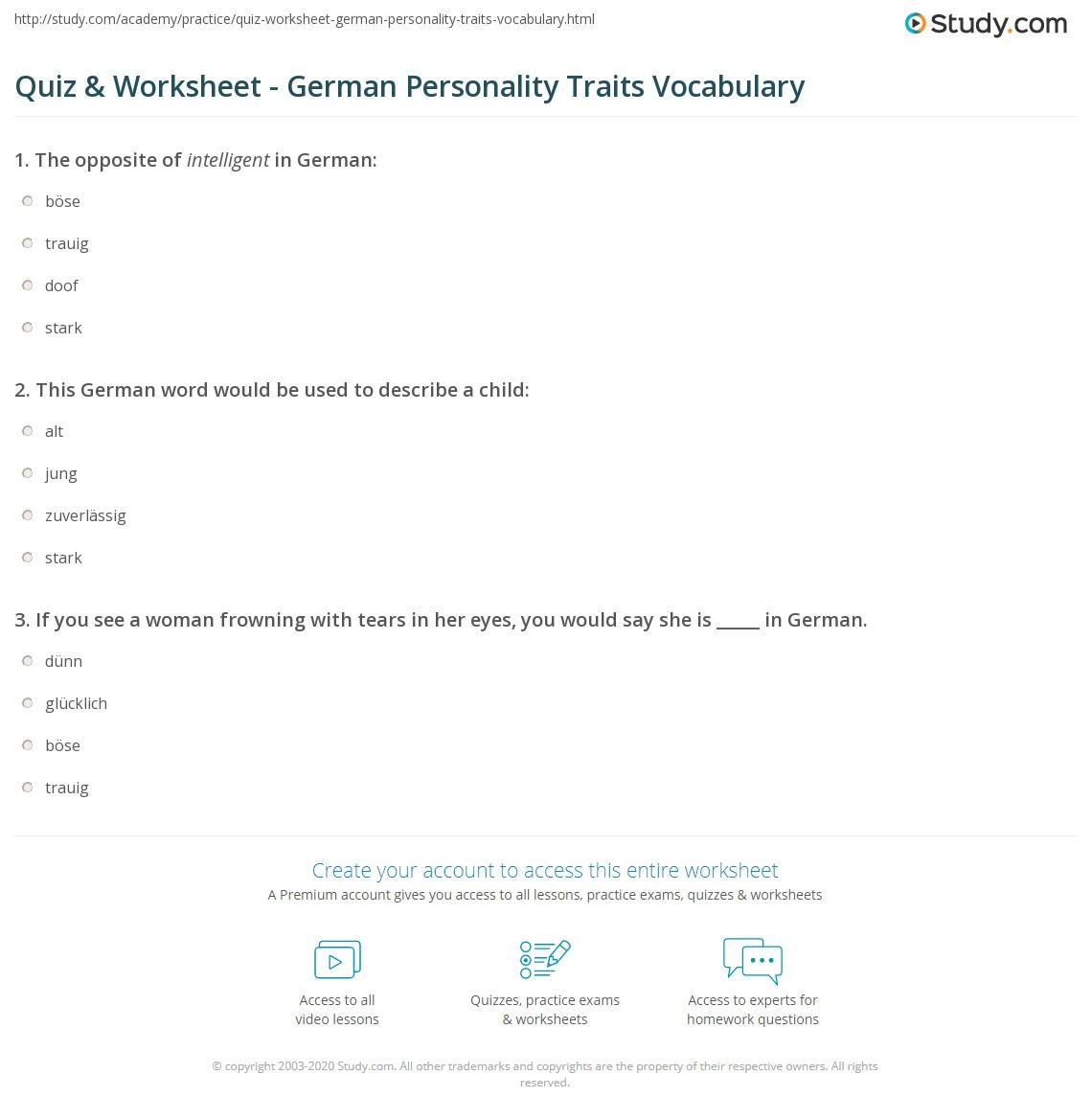 quiz worksheet german personality traits vocabulary study com