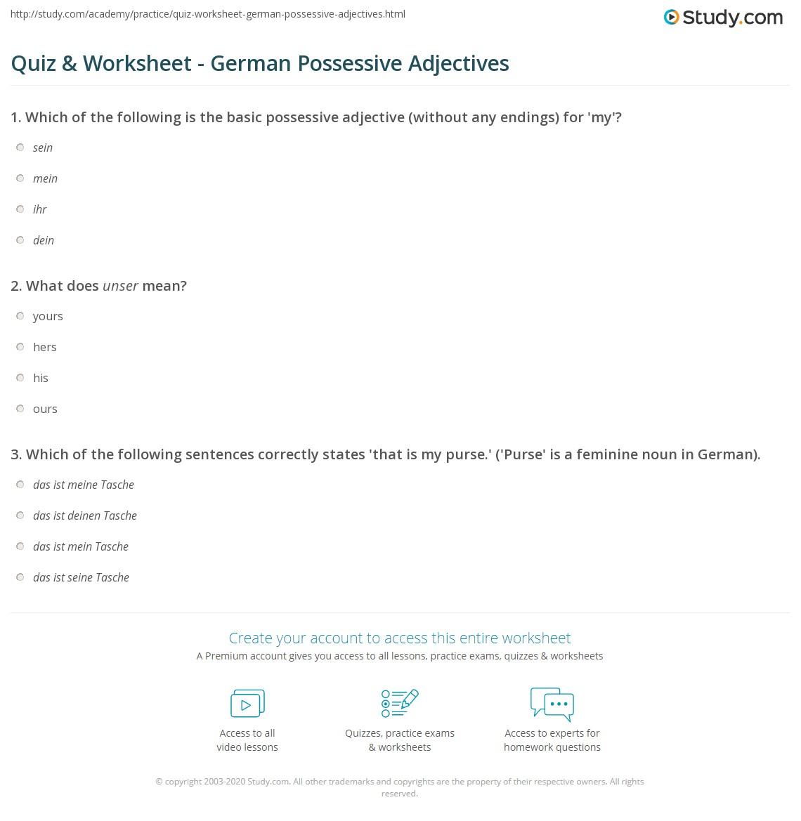 quiz worksheet german possessive adjectives. Black Bedroom Furniture Sets. Home Design Ideas