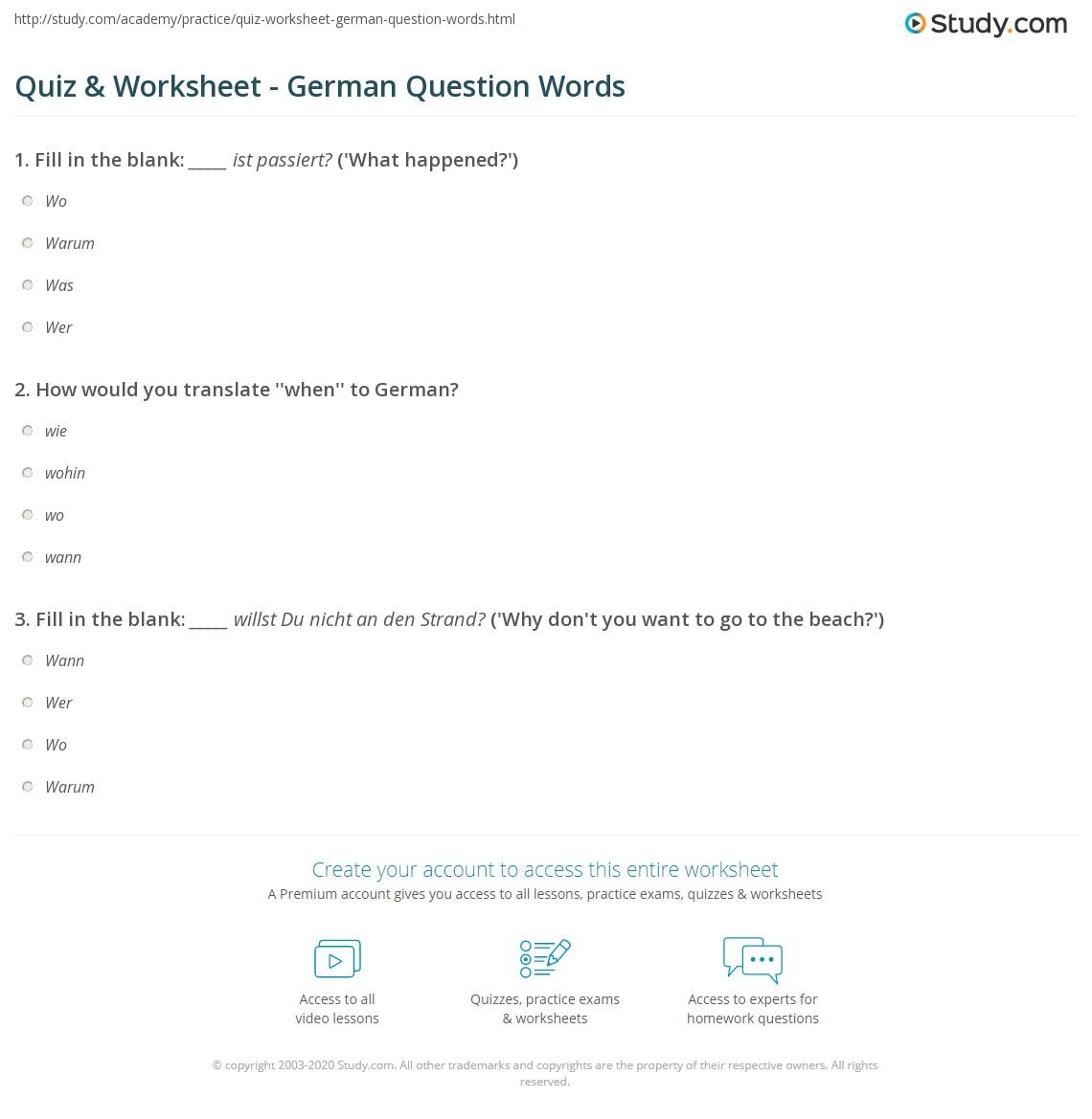 Quiz & Worksheet - German Question Words | Study.com