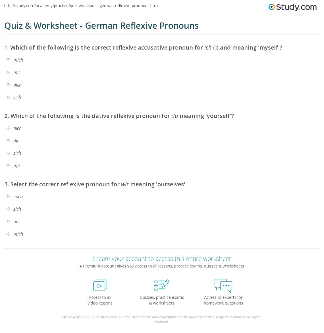 worksheet Reflexive Pronoun Worksheets quiz worksheet german reflexive pronouns study com print worksheet