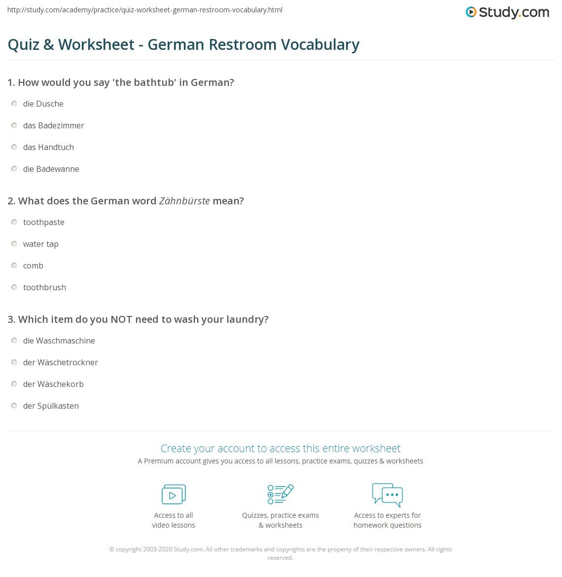 Print German Bathroom Terminology Worksheet