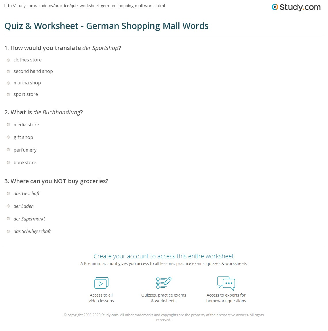 worksheet Shopping Worksheets quiz worksheet german shopping mall words study com print vocabulary worksheet