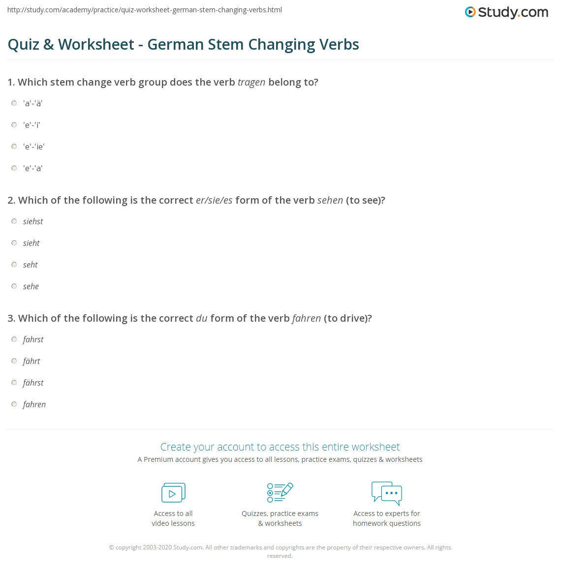 quiz worksheet german stem changing verbs. Black Bedroom Furniture Sets. Home Design Ideas