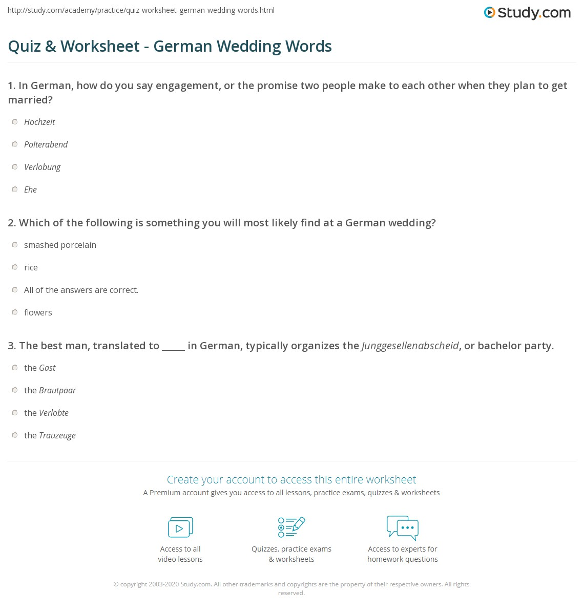 Worksheets Wedding Worksheet quiz worksheet german wedding words study com print vocabulary worksheet