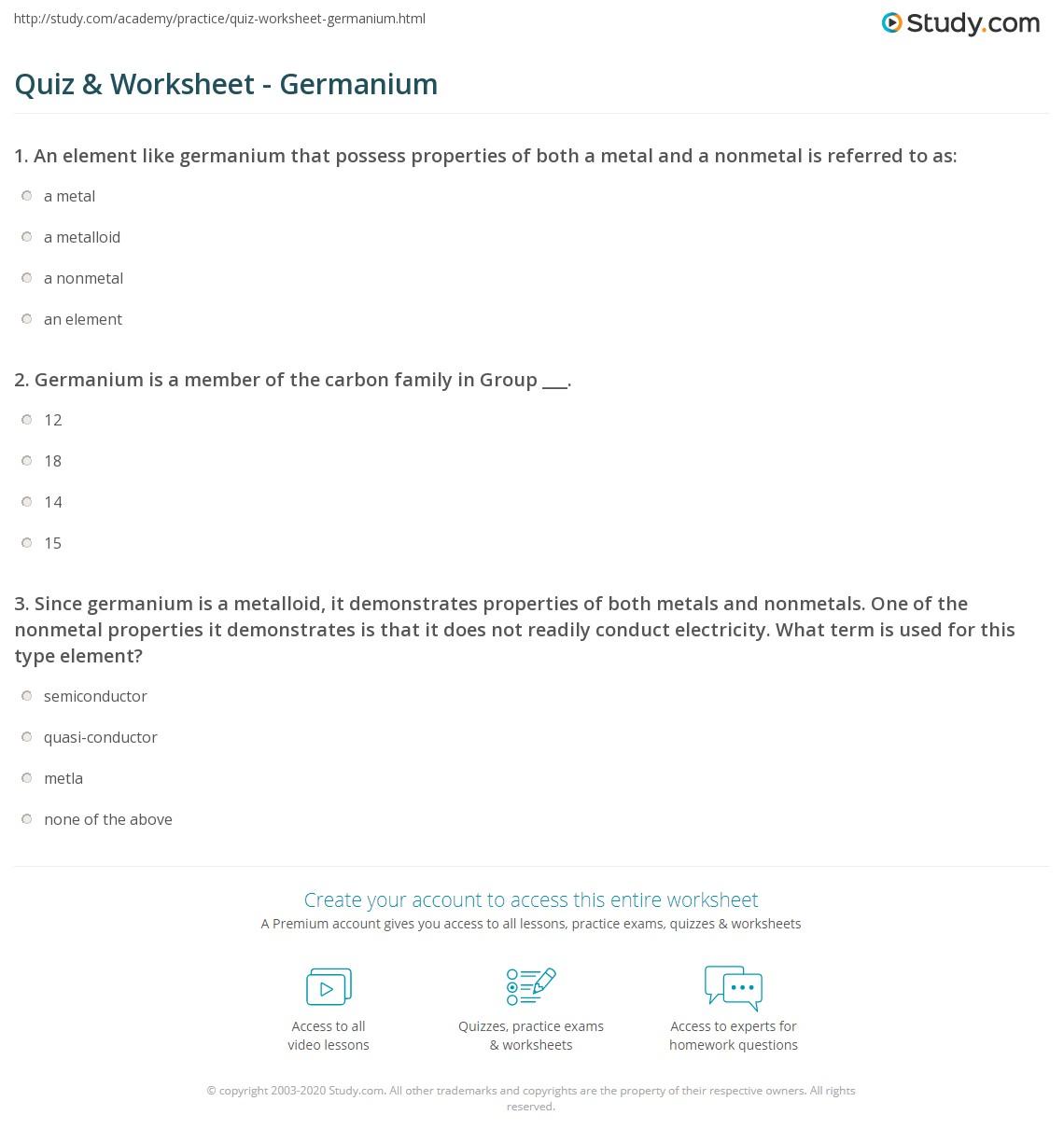 worksheet Metals And Nonmetals Worksheet quiz worksheet germanium study com print definition uses worksheet