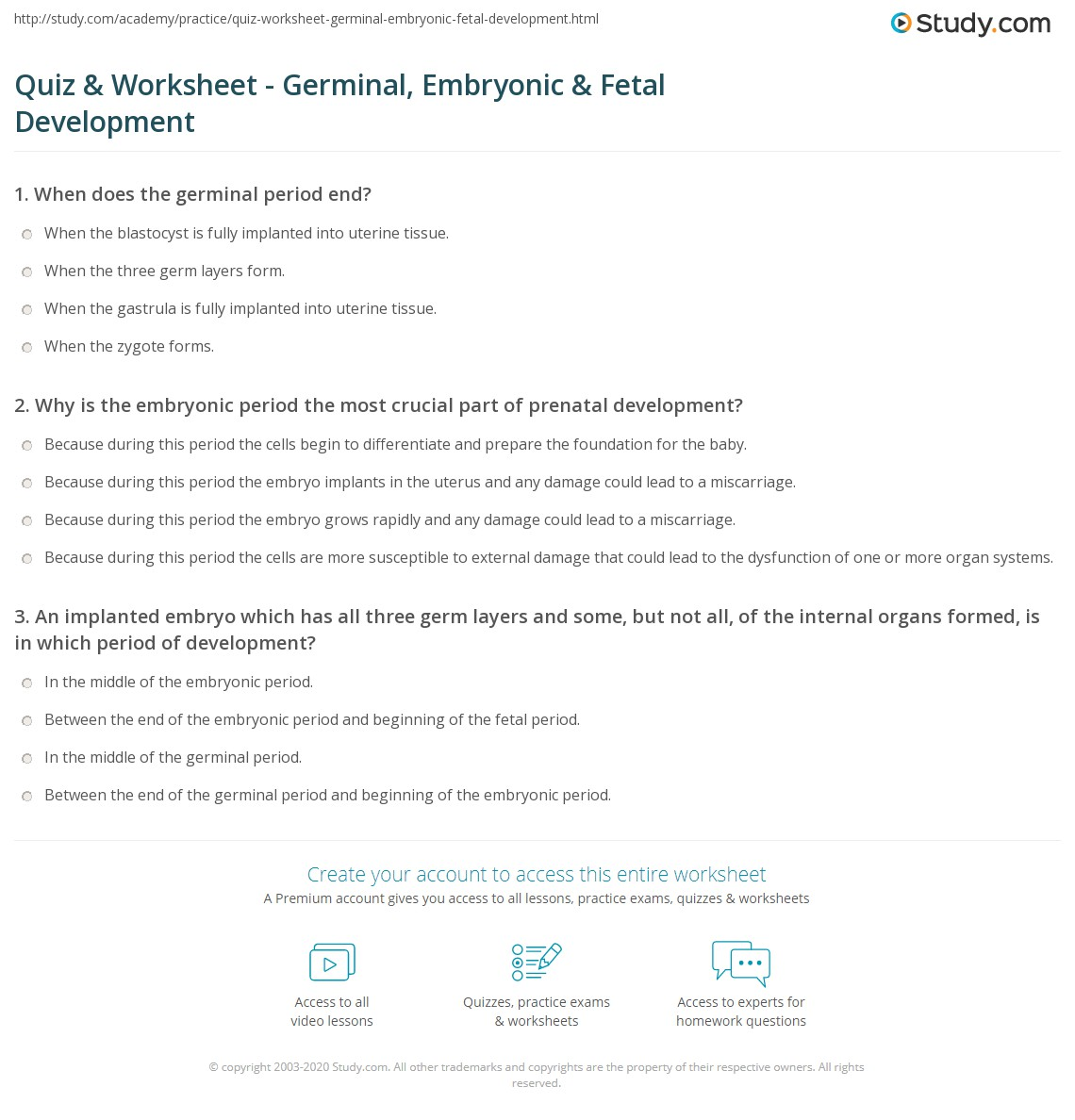 quiz worksheet germinal embryonic fetal development. Black Bedroom Furniture Sets. Home Design Ideas
