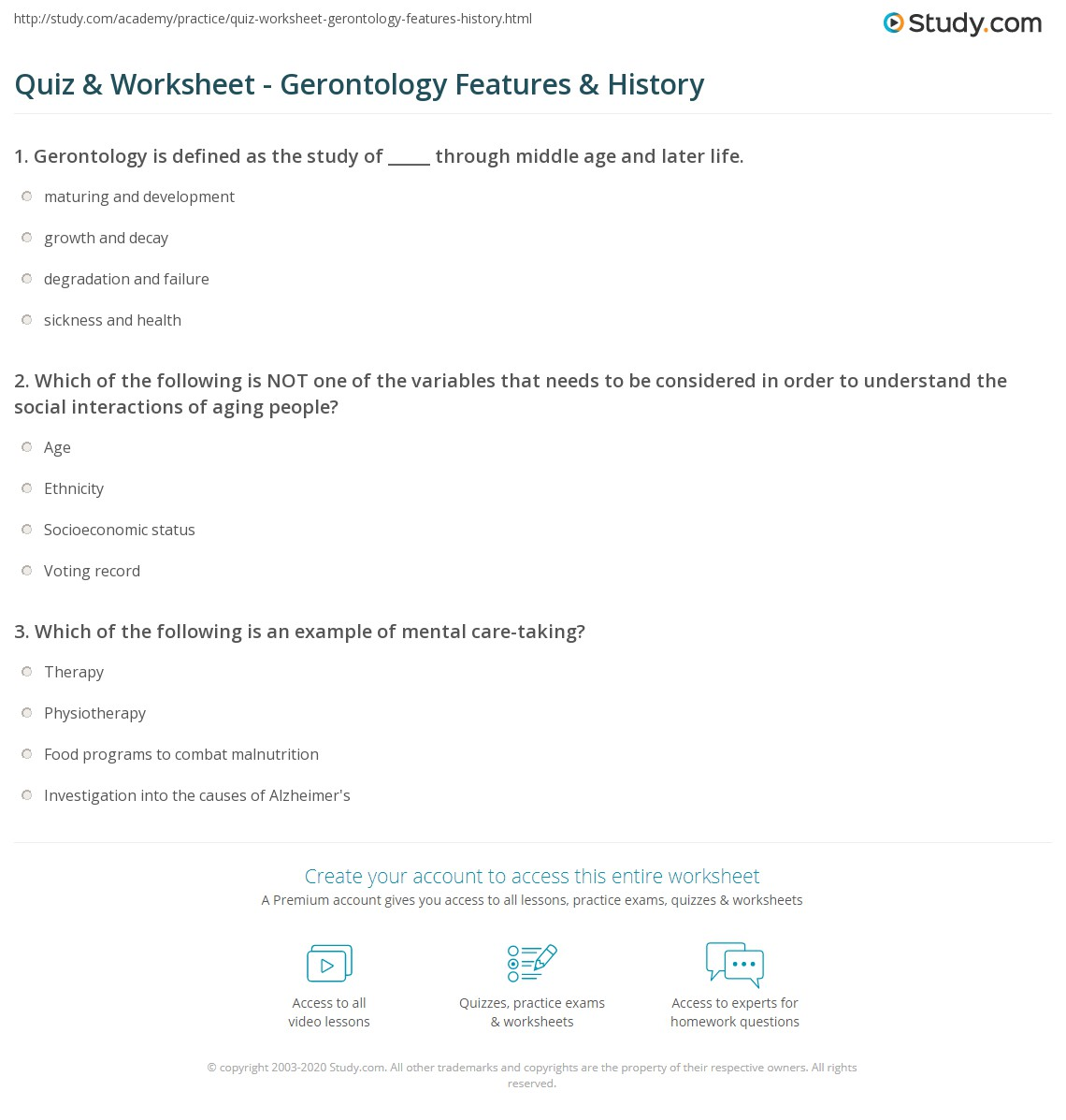 Quiz worksheet gerontology features history study print what is gerontology definition history worksheet xflitez Choice Image