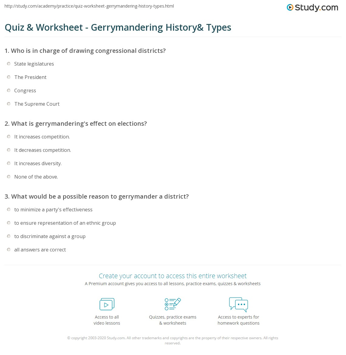 Print Gerrymandering: Definition History Types \u0026 Ex&les Worksheet