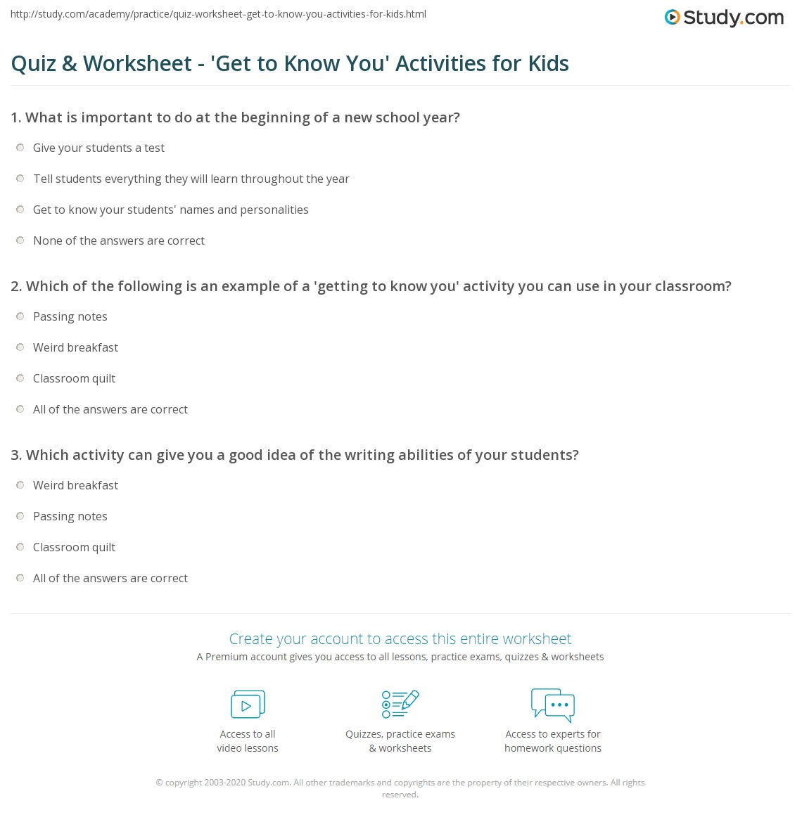 Quiz Worksheet Get to Know You Activities for Kids – Getting to Know You Worksheet