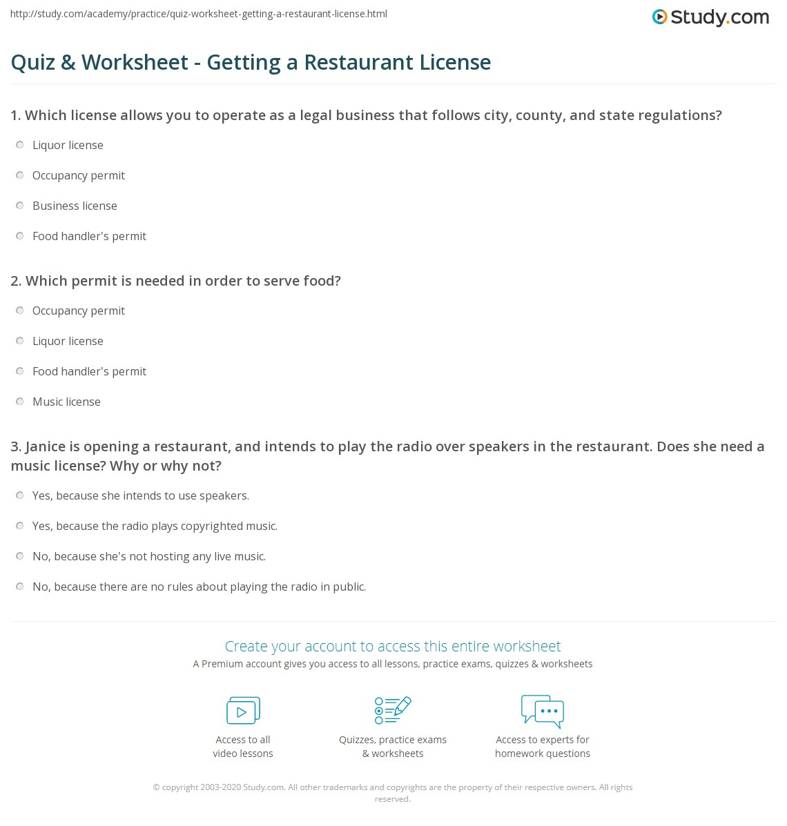 quiz worksheet getting a restaurant license study com which permit is needed in order to serve food
