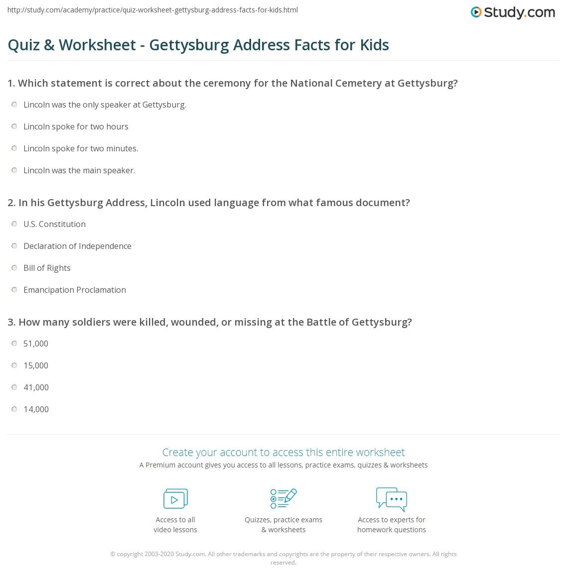 Quiz Worksheet Gettysburg Address Facts For Kids on Emancipation Proclamation Worksheet