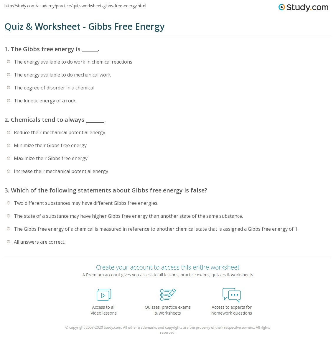 Quiz & Worksheet - Gibbs Free Energy | Study.com