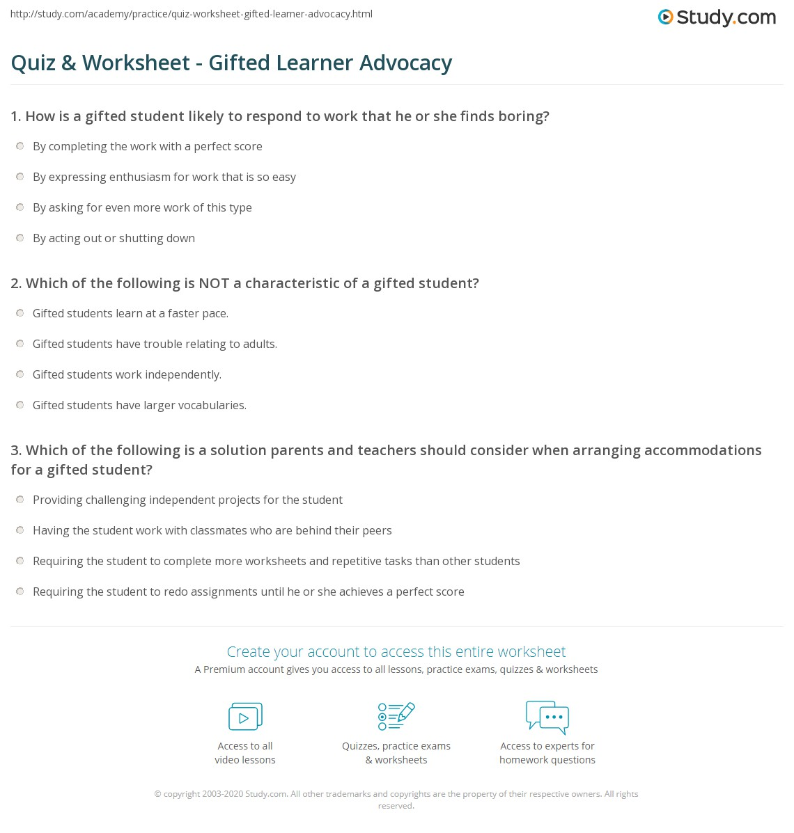 Print Advocating for Gifted Students Worksheet