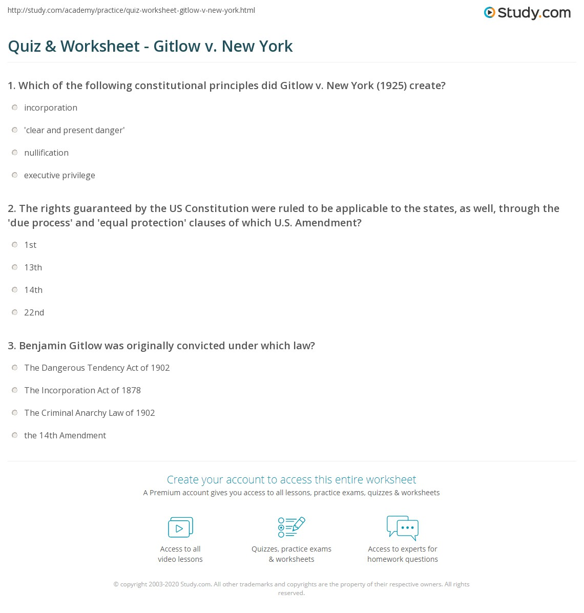 Quiz & Worksheet - Gitlow V. New York