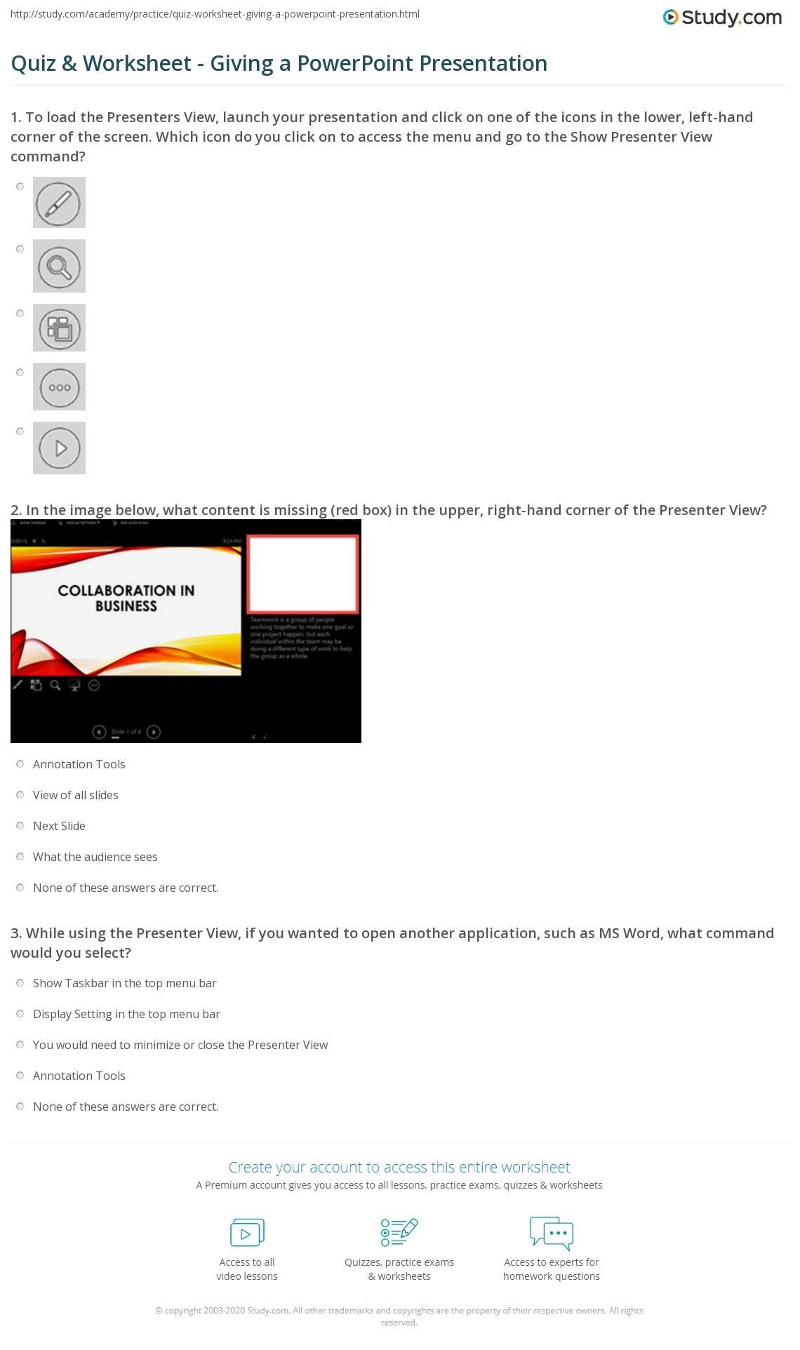 Quiz & Worksheet - Giving a PowerPoint Presentation | Study com
