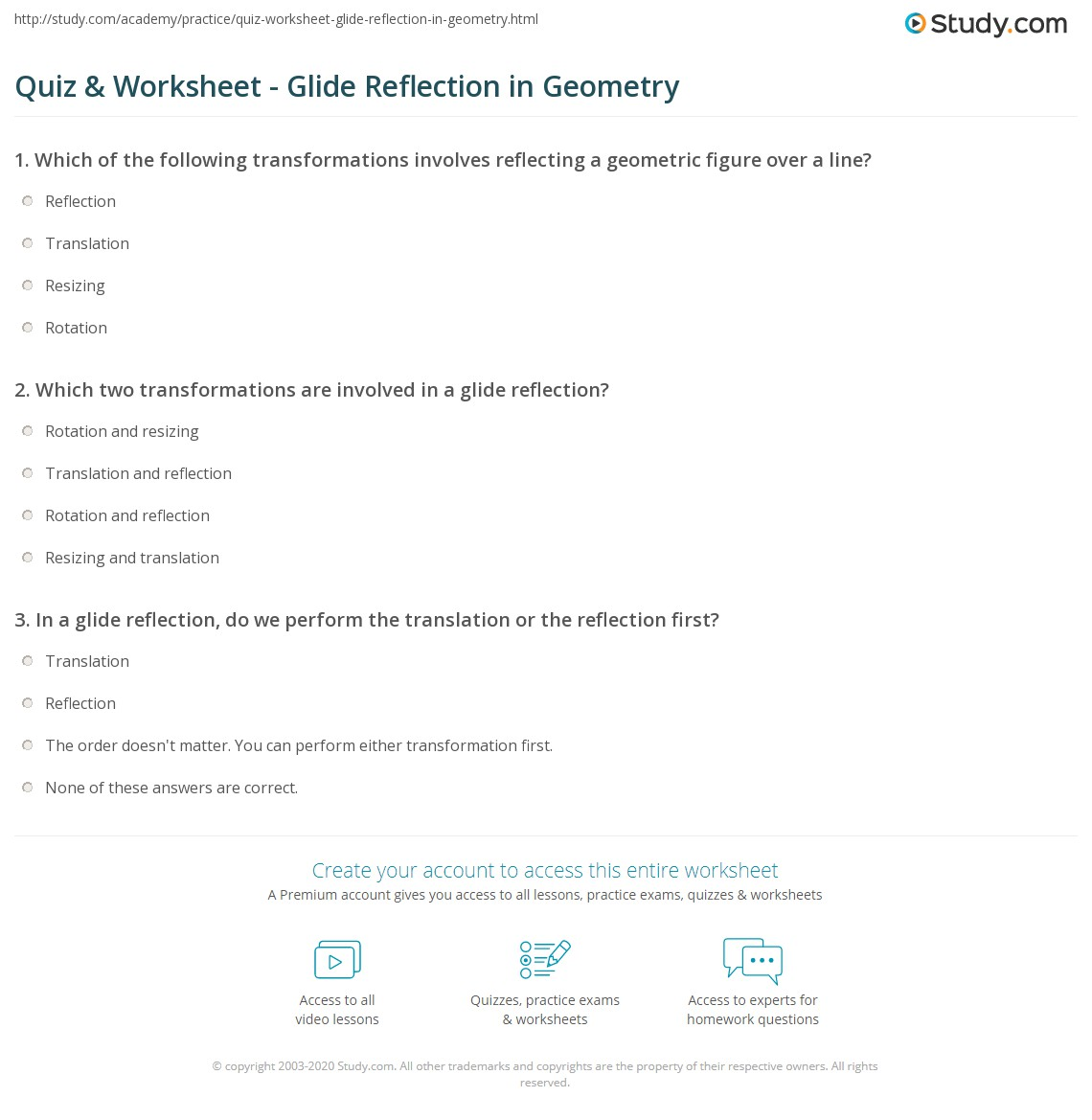 Quiz Worksheet Glide Reflection in Geometry – Geometry Reflection Worksheet