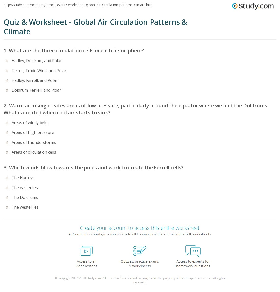 Quiz Worksheet Global Air Circulation Patterns Climate Study
