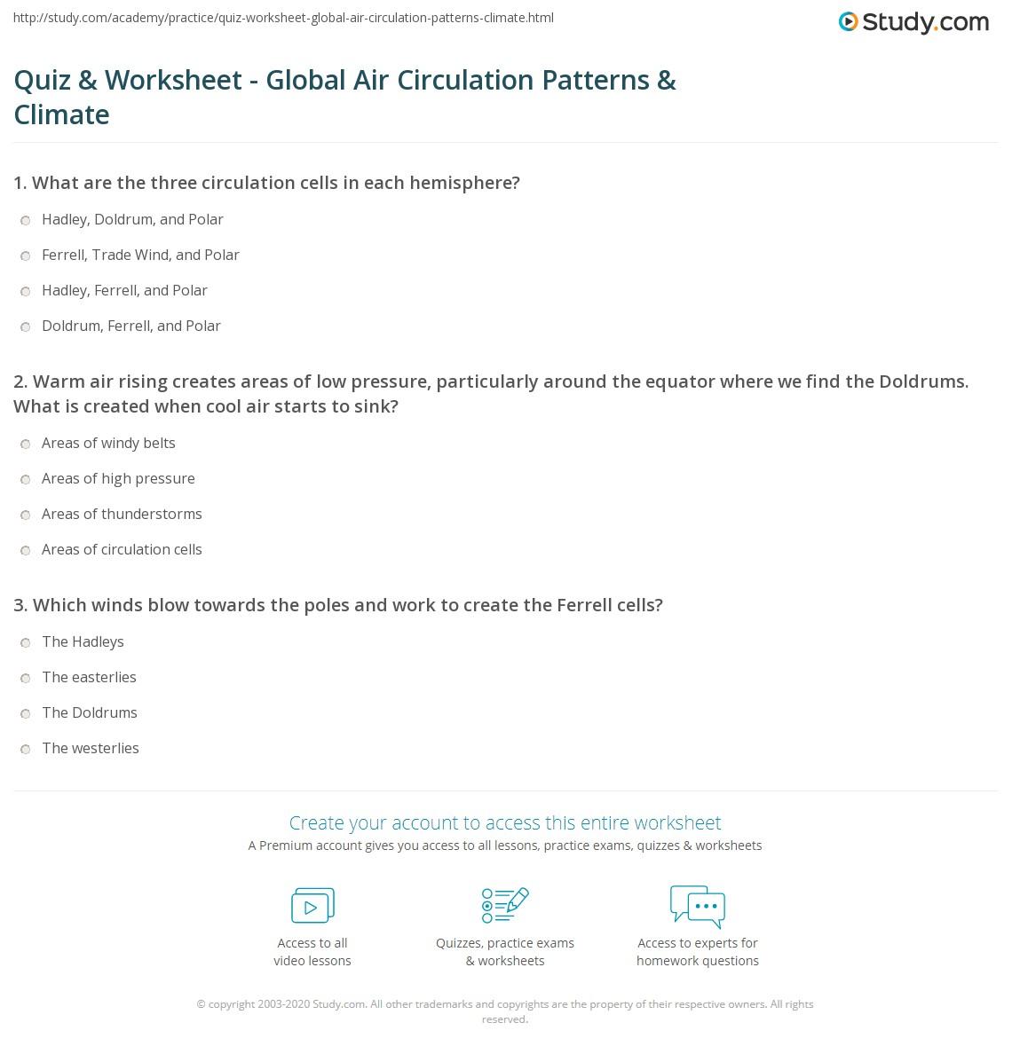 Quiz Worksheet Global Air Circulation Patterns Climate – Global Winds Worksheet