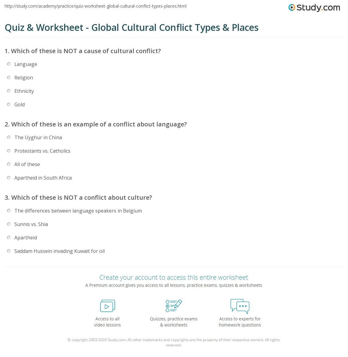 worksheet A Global Conflict Worksheet Answers quiz worksheet global cultural conflict types places study com print worldwide locations worksheet