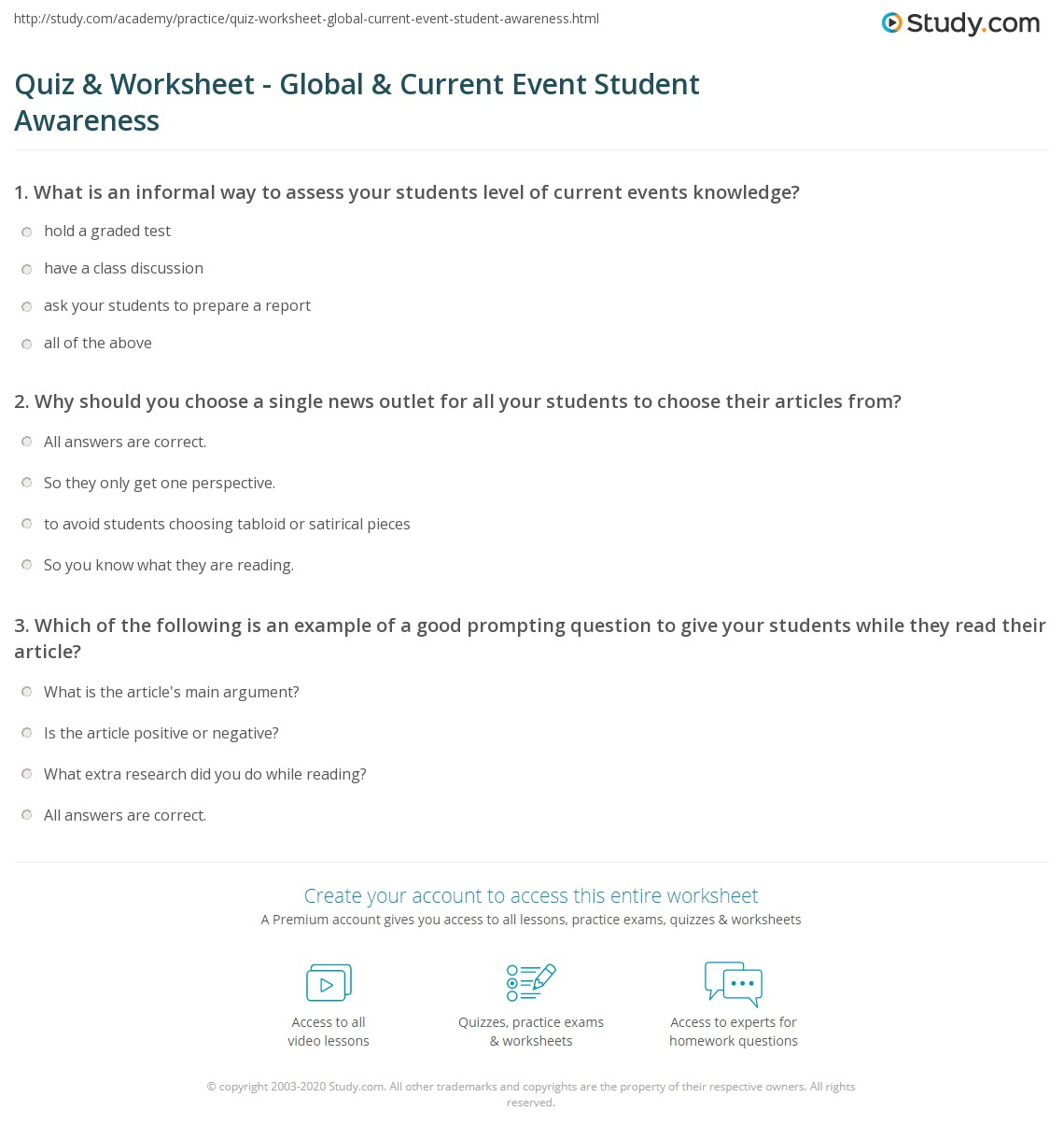 worksheet Current Events Worksheet quiz worksheet global current event student awareness study com print issues events in the classroom worksheet