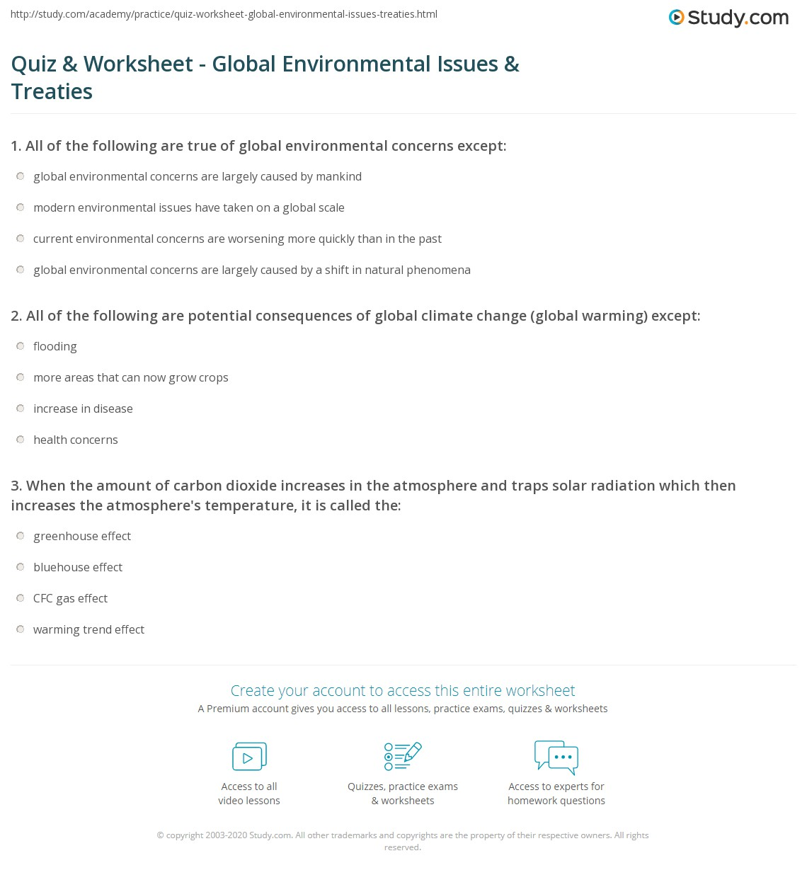 Quiz Amp Worksheet Global Environmental Issues Amp Treaties