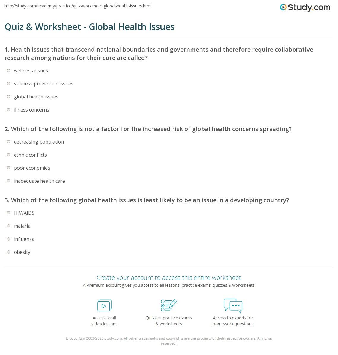 Quiz Worksheet Global Health Issues – Boundaries Worksheets