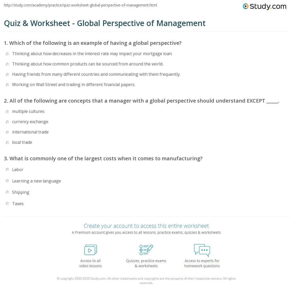 quiz worksheet global perspective of management. Black Bedroom Furniture Sets. Home Design Ideas