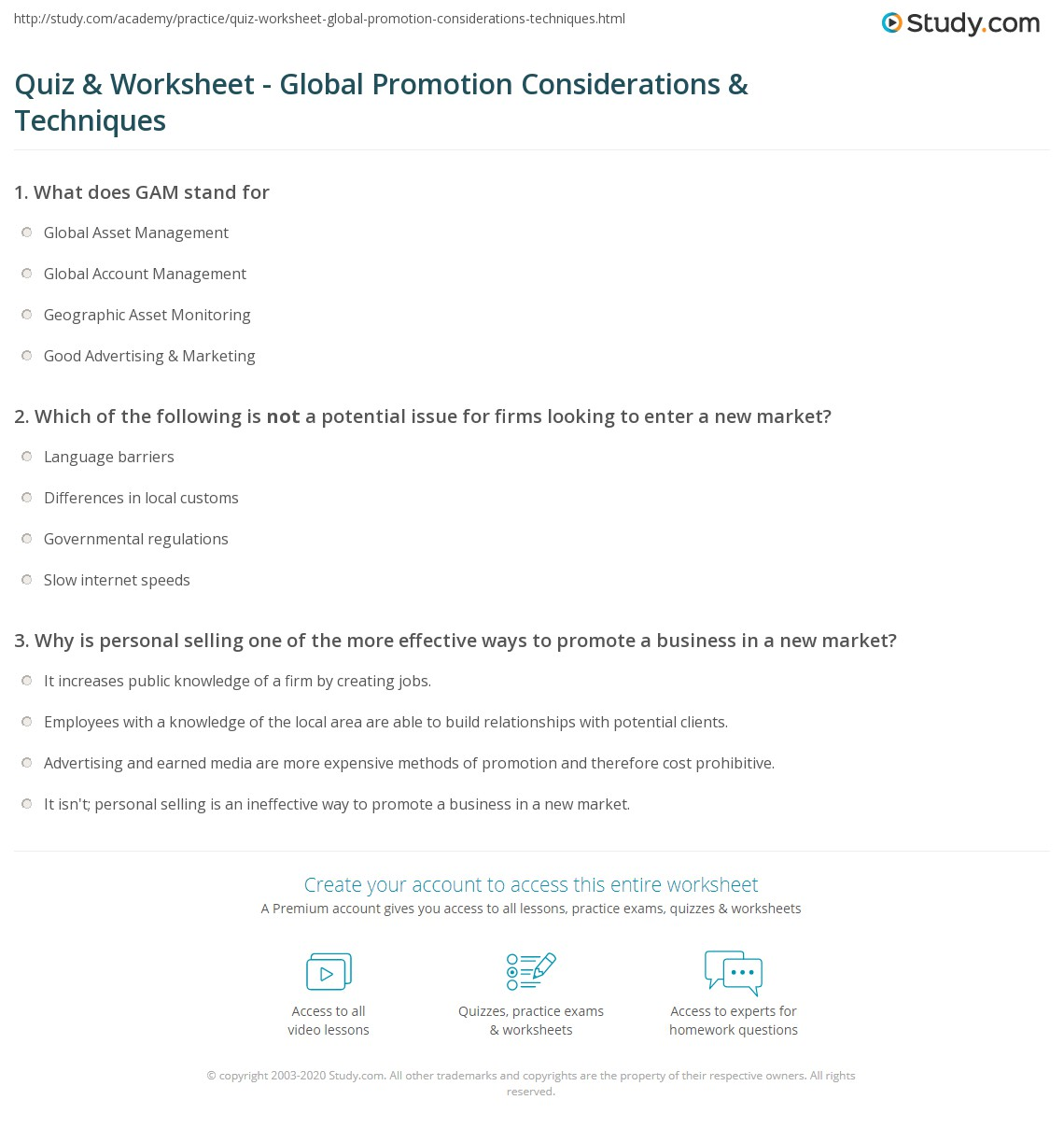 Worksheets Promotion Worksheet quiz worksheet global promotion considerations techniques print issues strategies worksheet
