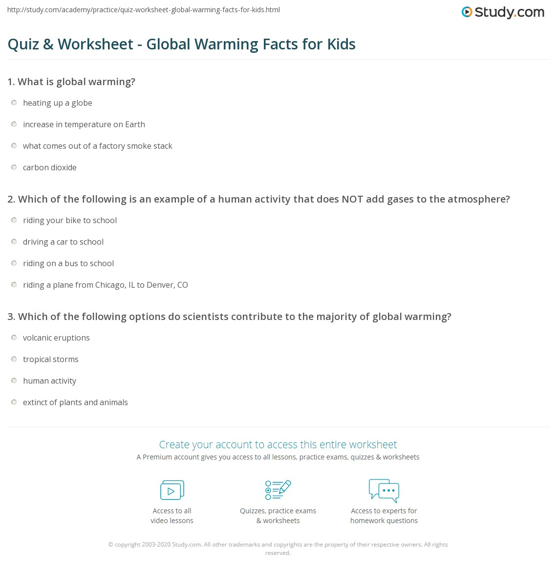 Quiz & Worksheet - Global Warming Facts For Kids