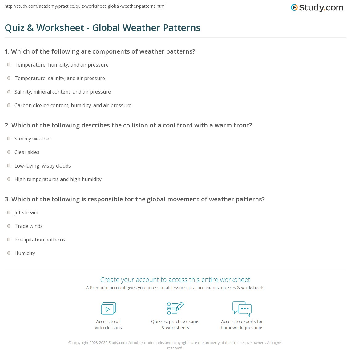 Quiz Worksheet Global Weather Patterns Study