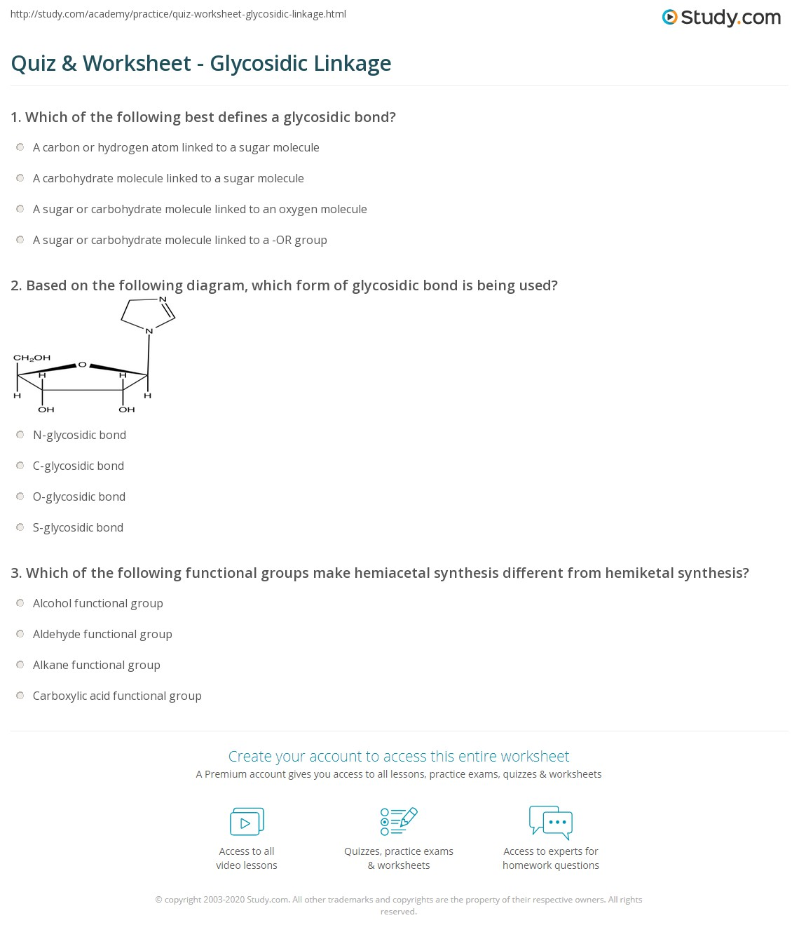 Quiz Worksheet Glycosidic Linkage – Functional Group Worksheet