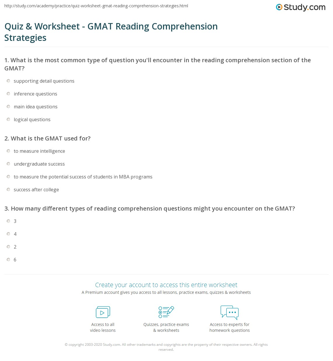 Worksheets Reading Comprehension Strategies Worksheets quiz worksheet gmat reading comprehension strategies study com print techniques for the worksheet