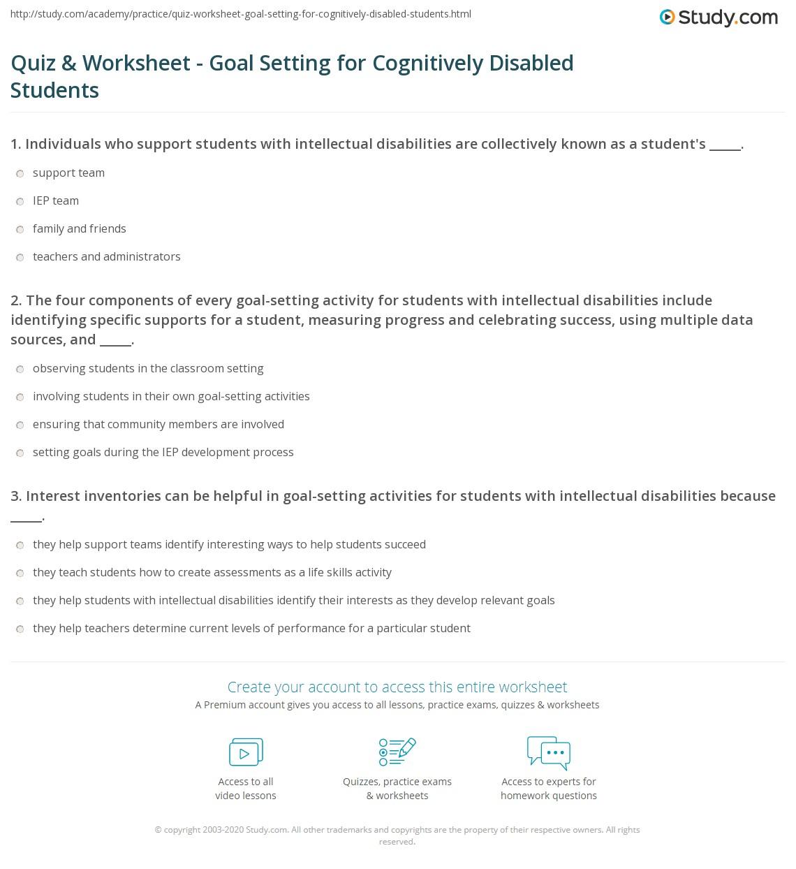 Quiz Worksheet Goal Setting For Cognitively Disabled Students