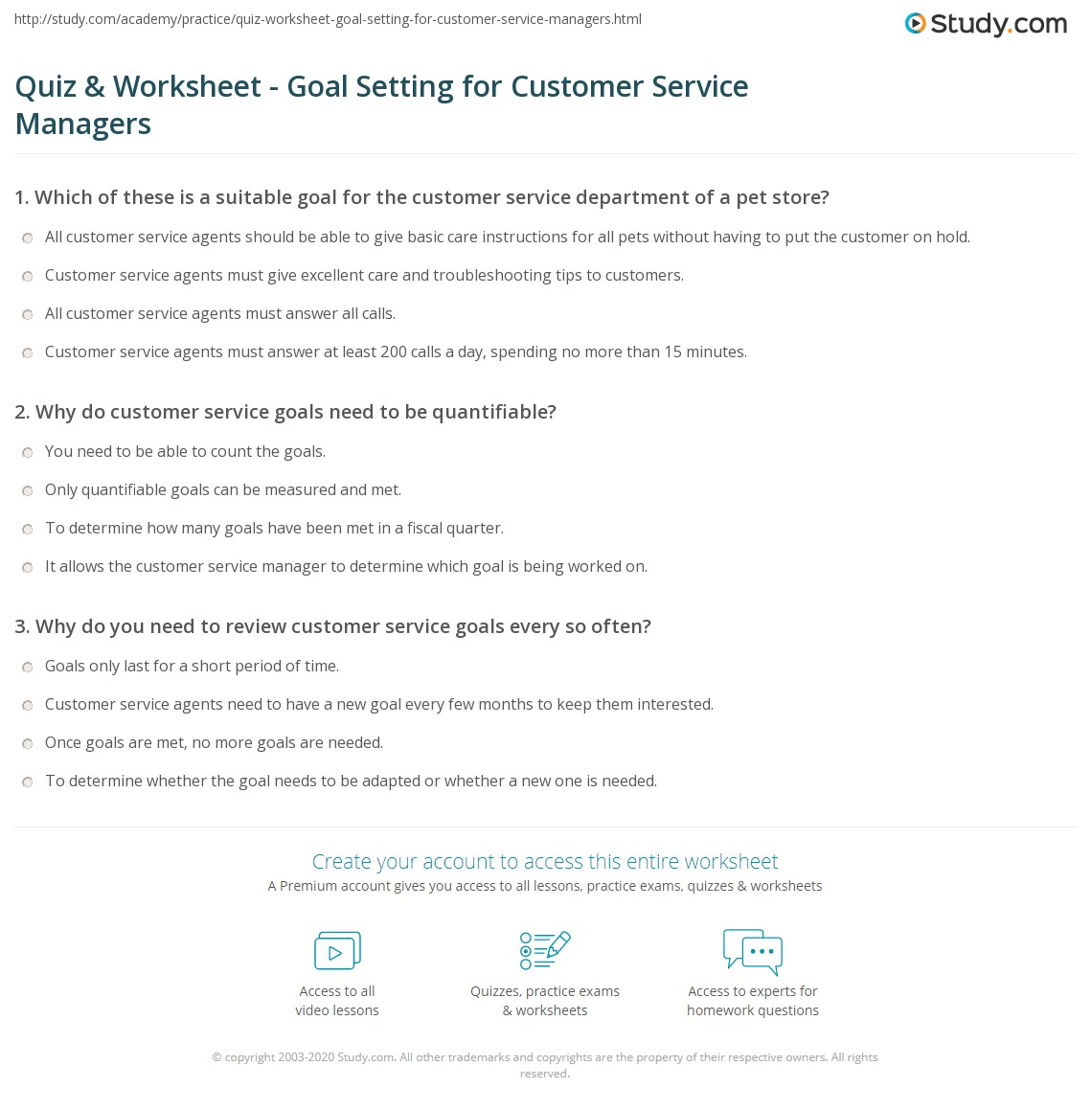 Print How Customer Service Managers Set Goals Worksheet