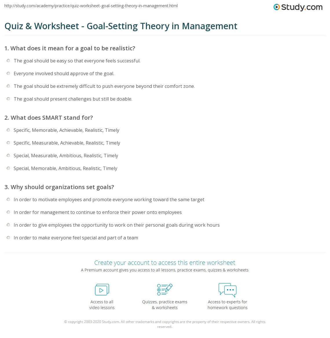 Uncategorized Set Theory Worksheets quiz worksheet goal setting theory in management study com print definition examples worksheet