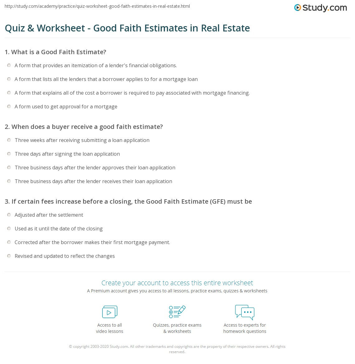 Worksheets Good Faith Estimate Worksheet quiz worksheet good faith estimates in real estate study com print what is a estimate definition components worksheet