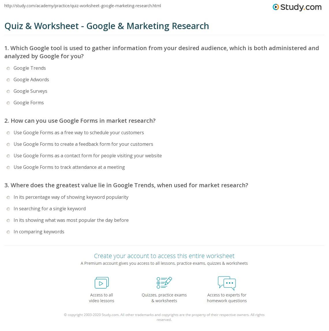 Quiz & Worksheet - Google & Marketing Research | Study com