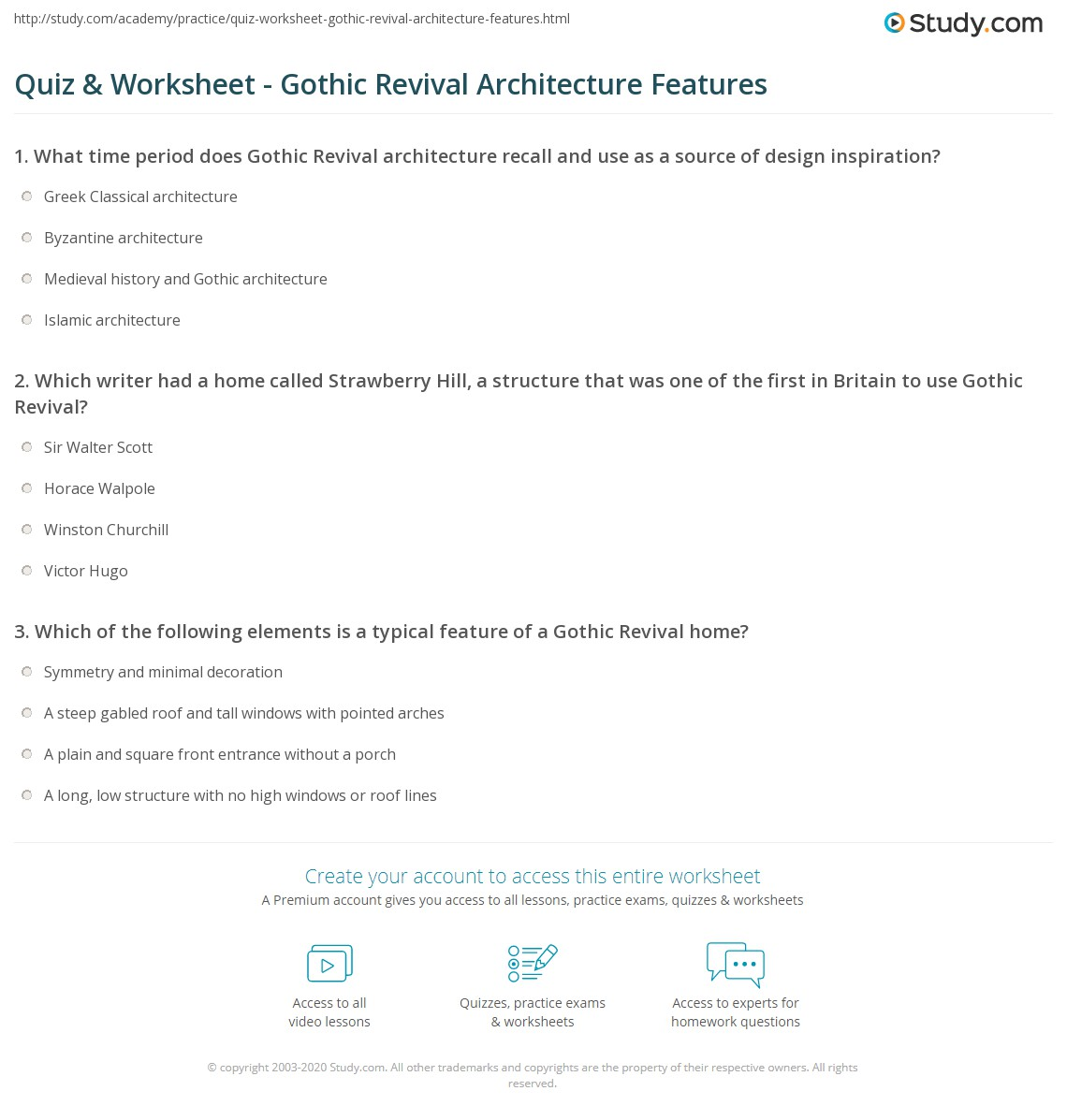 Quiz Amp Worksheet Gothic Revival Architecture Features