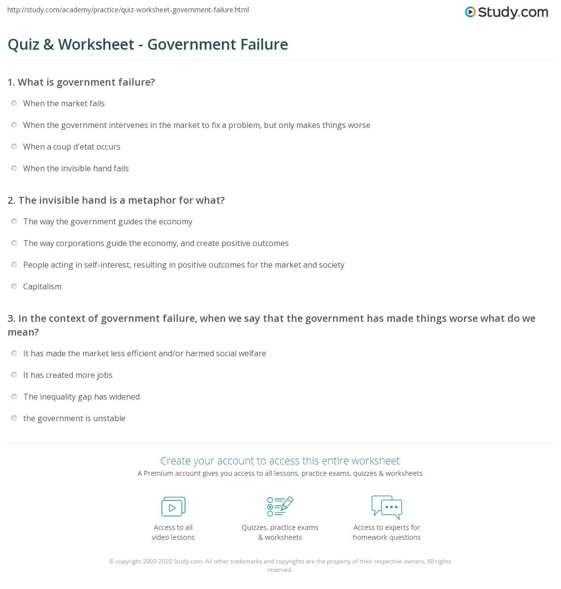 Quiz Worksheet Government Failure Study