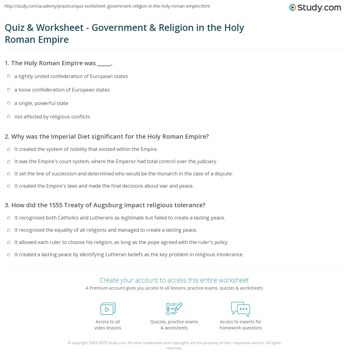 Quiz & Worksheet - Government & Religion in the Holy Roman ...