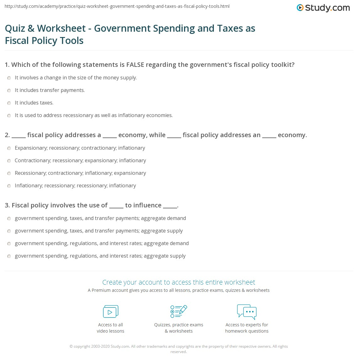 quiz worksheet government spending and taxes as fiscal policy tools. Black Bedroom Furniture Sets. Home Design Ideas