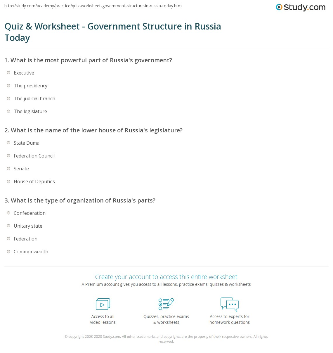 Workbooks types of government worksheets printable : Quiz & Worksheet - Government Structure in Russia Today | Study.com