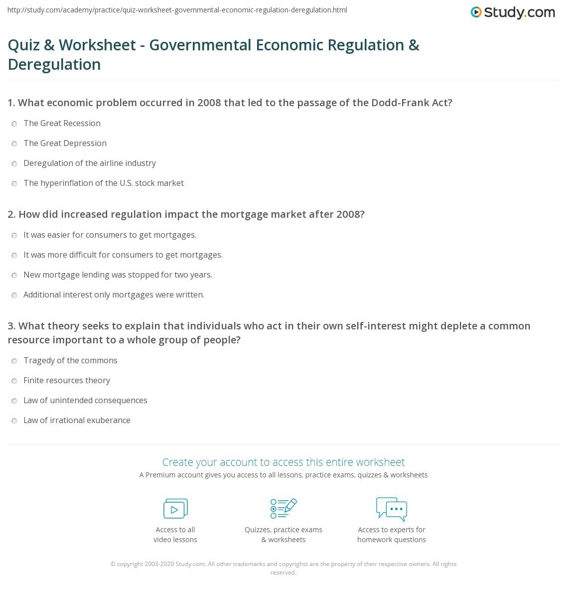 Quiz Worksheet Governmental Economic Regulation Deregulation Study Com