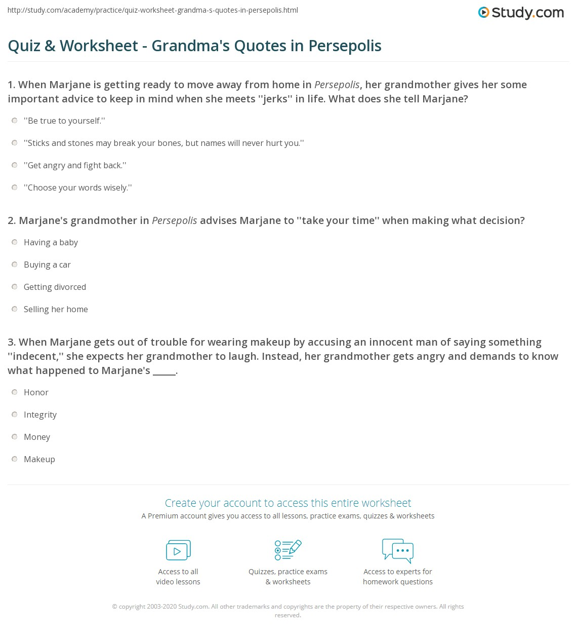 Quiz Worksheet Grandma S Quotes In Persepolis Study Com