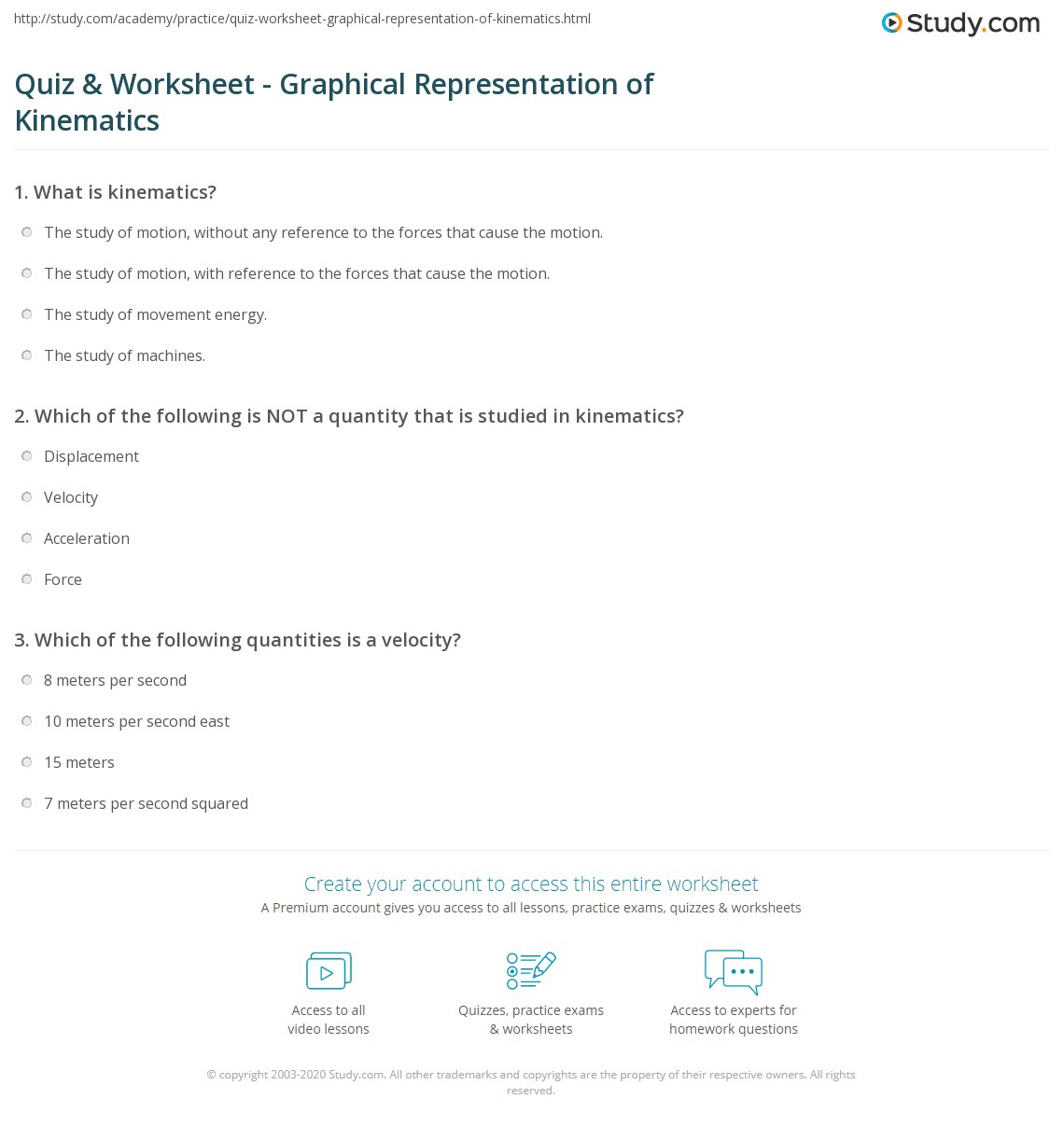 Quiz Worksheet Graphical Representation Of Kinematics Study