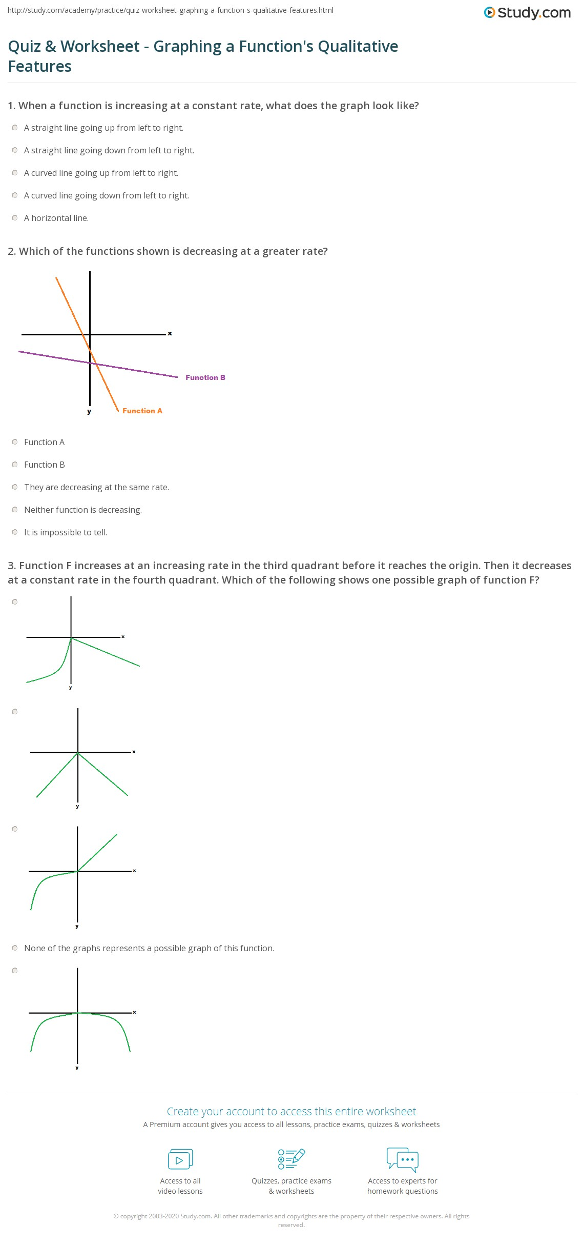 Quiz Worksheet Graphing A Functions Qualitative Features
