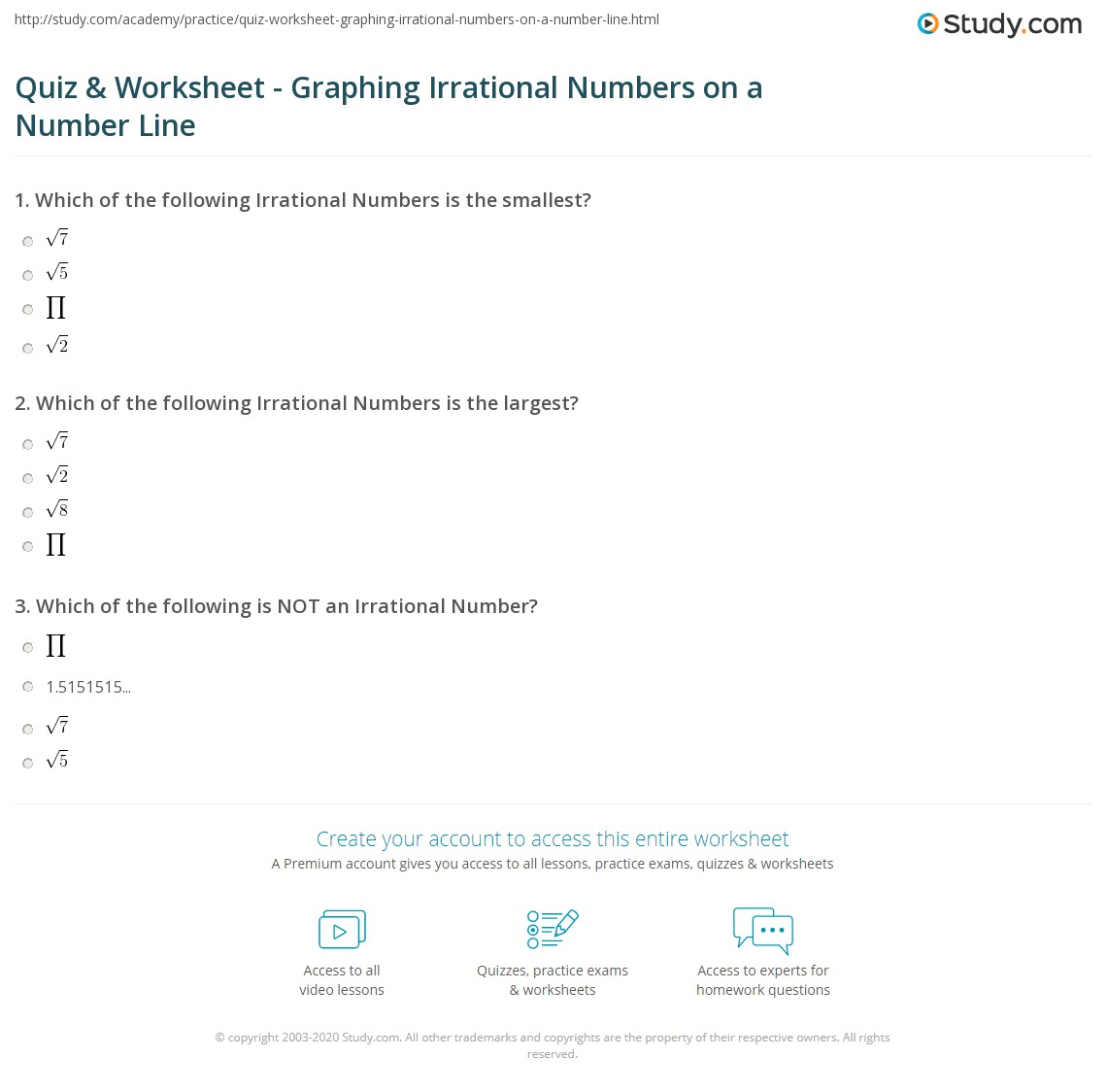 Worksheets Rational And Irrational Numbers Worksheets quiz worksheet graphing irrational numbers on a number line print ordering worksheet