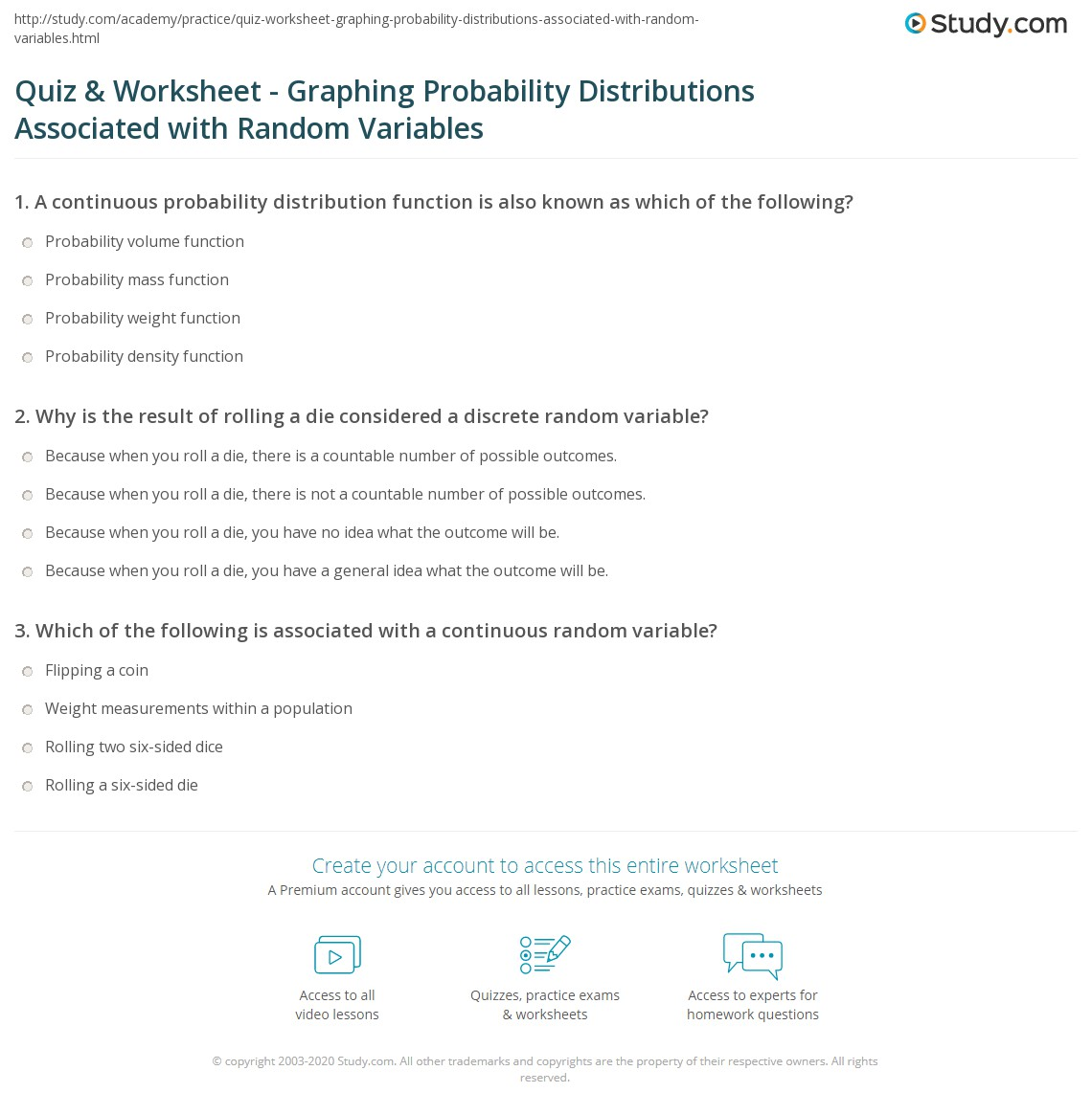 Quiz Worksheet Graphing Probability Distributions Associated With Random Variables Study Com